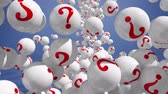 questão : Falling balls with question marks on blue. FAQ concept 3d.