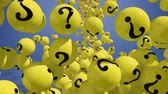questões : Falling balls with question marks on blue. FAQ concept 3d.