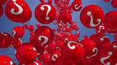 poptávka : Falling balls with question marks on blue. FAQ concept 3d.