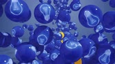 the conception : Falling balls with light bubs icons. Symbol of new idea. Stock Footage