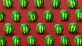 wiggle : Fresh watermelons on red background. Colorful fruit pattern. 4k video.
