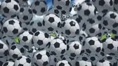 bouncing : Lot of soccer balls falling on the stadium Stock Footage