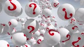 kihallgatás : Falling balls with question marks on white. FAQs
