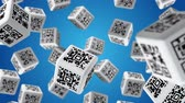 штрих код : Falling cubes with QR code labels Стоковые видеозаписи