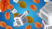 штрих код : Autumn leaves and cubes with barcodes falling down. Sale concept. Стоковые видеозаписи