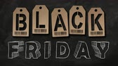 cut off : Animated BLACK FRIDAY text on a blackboard