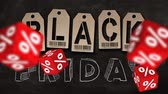 escrita : Falling red cubes with symbols of percent on background of BLACK FRIDAY text. Concept of sale.