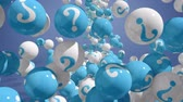 questão : Falling balls with question marks on blue. FAQ