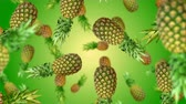 ananas : Pineapples falling down on green background. 4k video.