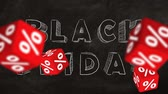 написанный : Falling red cubes with symbols of percent on background of BLACK FRIDAY text. Concept of sale.
