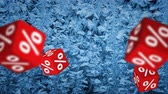 percentagem : Symbols of percent on falling red cubes. Concept of seasonal sale. Vídeos