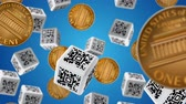 cent : Falling down coins and cubes with QR code labels. Sale concept. Stock Footage