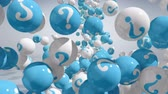 questão : Falling balls with question marks on white. FAQ concept. Stock Footage
