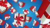 упаковка : Gift boxes falling on blue background