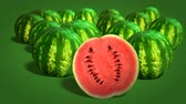 segmento : Ripe watermelons on green background close-up. 4k video.