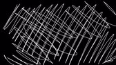 kroki : Random chaotic curves on black background. Hand drawn dinamic scrawls. These hand-drawn scribbles doodles can be used as Luma Mattes for videotransitions. Stok Video