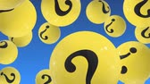 miért : Flying Up balls with question marks on blue. FAQ
