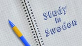 kartka papieru : Study in Sweden word animation