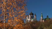 Autumn. Female St. Panteleimon Monastery in the park Feofania. Kyiv, Ukraine.