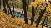 ahornbaum : Autumn. Urban funicular in Kyiv. Ukraine. Funicular goes down Stock Footage