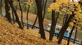 Autumn. Urban funicular in Kyiv. Ukraine. Funicular rises up