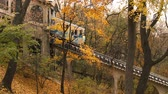 tram : Autumn. Urban funicular in Kyiv. Ukraine. Funicular goes down.