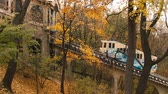ahornbaum : Autumn. Urban funicular in Kyiv. Ukraine. Funicular rises up.