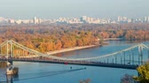 ucrânia : Aerial view of pedestrian suspended bridge across the rive Dnipro in Kiev, Ukraine Vídeos