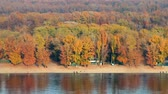 ahornbaum : Autumn city beach. Dnieper river, Kyiv, Ukraine.