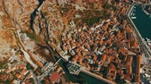 madármegfigzelés : Kotor ,Montenegro. Aerial drone shoot of the old town by the sea and mountains Stock mozgókép