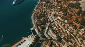 Kotor ,Montenegro. Aerial drone shoot of the old town by the sea and mountains Stock mozgókép
