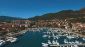 Aerial footage boats and yachts in the harbor Tivat. Montenegro Stock mozgókép