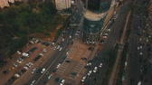 Top down aerial view of intersection with a lot of cars Stock mozgókép
