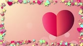 símbolos : Background with cartoon hearts Stock Footage