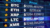 comparação : Bitcoin, Ether, Litecoin cryptocurrency prices growing, digital money gain value. Digital money value going up on the market. Etherium, Bitcoin, Litecoin cryptocurrencies