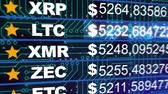 litecoin : Bitcoin, Ether, Ripple prices.Cryptocurrencies digital money value going up and down FAST - BLACK BG Stock Footage