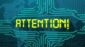уведомление : Attention, futuristic message, monitor screen Стоковые видеозаписи