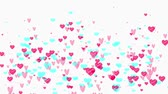 amantes : Flying hearts animation on white background