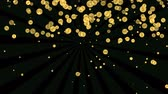 трилистник : Dollar animation, golden coin with american dollar symbol , fiery ellipses around the coin, flying another coins on background, footage on alpha screen