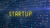 로고 타입 : Futuristic 3D animation of Startup text being formed by particles and programming code on abstract grid background.
