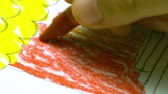 educação : Fun children painting in creative extreme macro close-up view. Childhood inspiration idea.