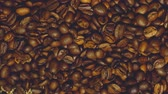 makro : Coffee beans with star anise on barrel, cam moves to the right, close up