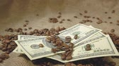 japonês : Coffee grains fall on American dollars, grains pour on money
