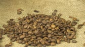 brewed : Coffee grains on the hands Stock Footage