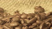 makro : Coffee close up..Close up of seeds of coffee. Beautiful seeds of coffee. Dark Coffee Grains. Rotating and falling