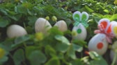 lebre : Easter Bunny on a Spring Day 4K Loop features a stuffed bunny looking at an animated cloudy sky in a field of green grass filled with Easter eggs