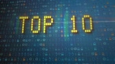five : Top 10 intro video, modern Teal blue cinematic realistic 3D animation. Teal metal and high-tech orange Ideal for television Top Ten shows.