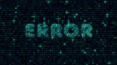 Error, a word with a microprocessor circuit texture. The text is filled with tracks microcircuits. Wideo