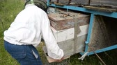 moskitiera : The old beekeeper takes out the hive from the trailer. Wideo