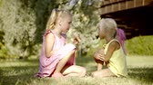 nevetés : Two sisters sit on the grass in the park, the girl has a sweet ice cream in the horn, she wants to share with her friend